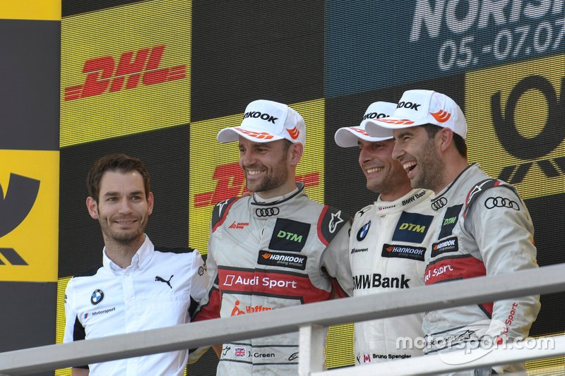 Podium, Bruno Spengler, BMW Team RMG, Mike Rockenfeller, Audi Sport Team Phoenix, Jamie Green, Audi Sport Team Rosberg