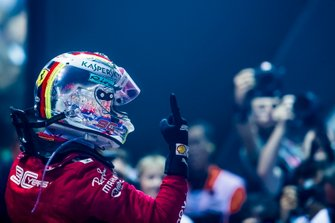 Race winner Sebastian Vettel, Ferrari, celebrates in Parc Ferme