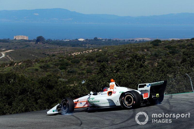 Colton Herta, Harding Steinbrenner Racing Honda spins in the Corkscrew