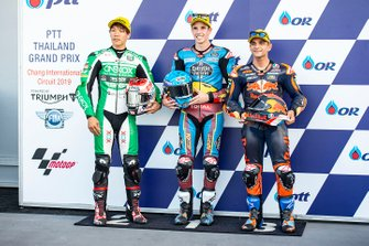 Polesitter Alex Marquez, Marc VDS Racing, secondo classificato Tetsuta Nagashima, SAG Racing Team, terzo classificato Jorge Martin, KTM Ajo