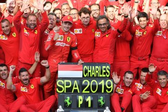 Charles Leclerc, Ferrari, Mattia Binotto, Team Principal Ferrari, Laurent Mekies, Sporting Director, Ferrari, and the Ferrari team celebrate victory