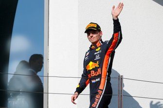 Max Verstappen, Red Bull Racing, 2nd position, arrives on the podium