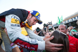 Daniel Abt, Audi Sport ABT Schaeffler, wins the Berlin ePrix, celebrates by kissing his girlfriend