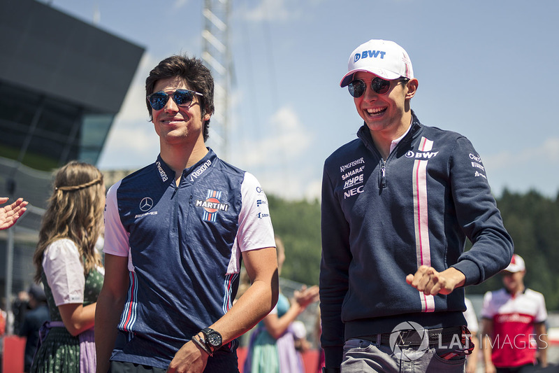 Lance Stroll, Williams and Esteban Ocon, Force India F1 on the drivers parade