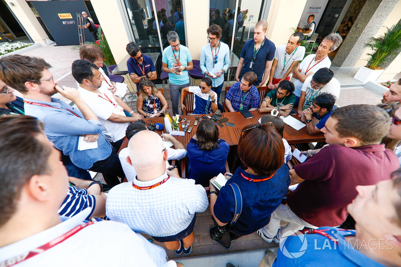 Felipe Massa, Williams, talks to the media