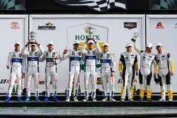 GTLM podium: first place Ryan Briscoe, Richard Westbrook, Scott Dixon, Chip Ganassi Racing, second place Dirk Müller, Joey Hand, Sébastien Bourdais, Chip Ganassi Racing, third place Antonio Garcia, Jan Magnussen, Mike Rockenfeller, Corvette Racing