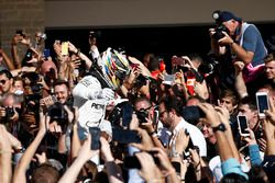 Race winner Lewis Hamilton, Mercedes AMG F1, celebrates victory in Parc Ferme