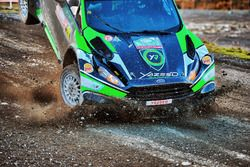 The crashed car of Yazeed Al Rajhi, Michael Orr, Yazeed Racing Ford Fiesta RS WRC