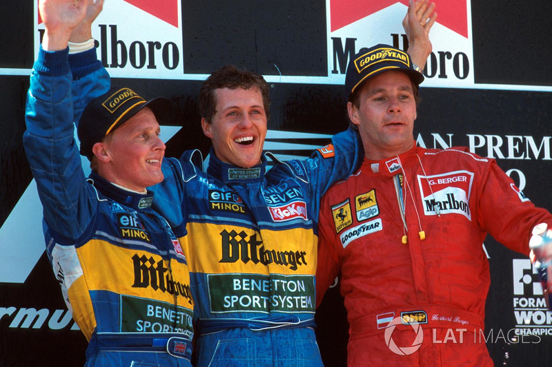 1995. 1. Michael Schumacher, Benetton 2. Johnny Herbert, Benetton 3. Gerhard Berger, Ferrari