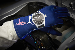 The glove of Valtteri Bottas, Mercedes AMG F1, with the Breast Cancer Awareness month logo