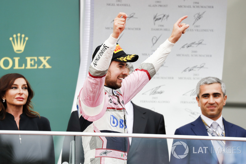 Sergio Perez, Force India celebra en el podio