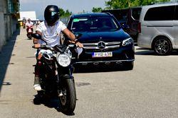Lewis Hamilton, Mercedes-AMG F1 on his MV Agusta motorbike