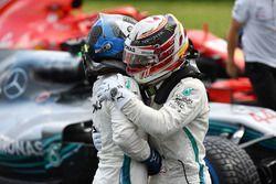 Lewis Hamilton, Mercedes-AMG F1 and Valtteri Bottas, Mercedes-AMG F1 celebrate in parc ferme