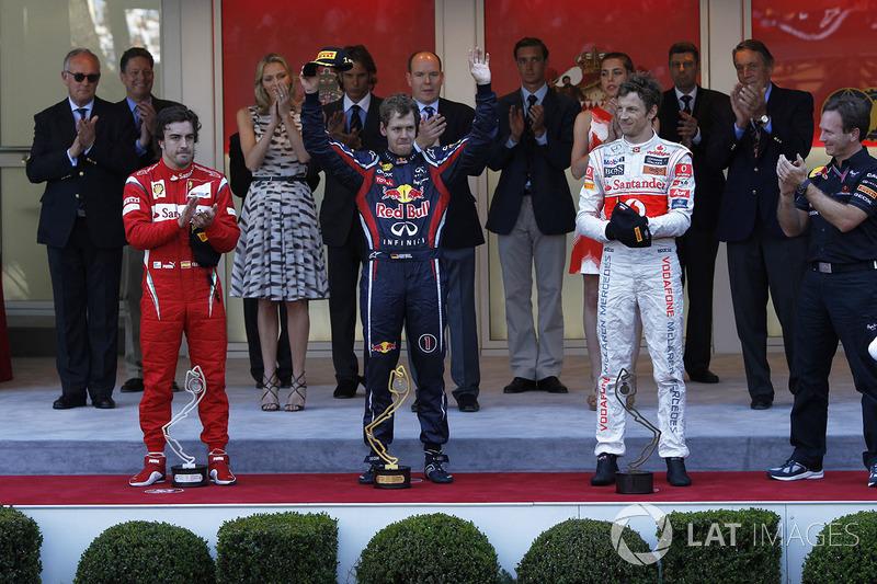 2011: 1. Sebastian Vette, 2. Fernando Alonso, 3. Jenson Button