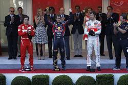 Podiium: race winner Sebastian Vettel, Red Bull Racing, second place Fernando Alonso, Ferrari, third place Jenson Button, McLaren