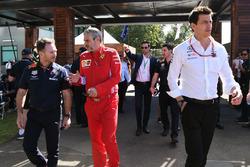 Christian Horner, Red Bull Racing Team Principal, Toto Wolff, Mercedes AMG F1 Director of Motorsport and Maurizio Arrivabene, Ferrari Team Principal