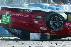 #64 Scuderia Corsa Ferrari 488 GT3, GTD: Bill Sweedler, Townsend Bell, Frankie Montecalvo upside down after crash