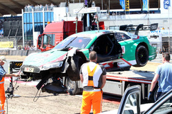 The car of Nico Müller, Audi Sport Team Abt Sportsline, Audi RS 5 DTM after the crash
