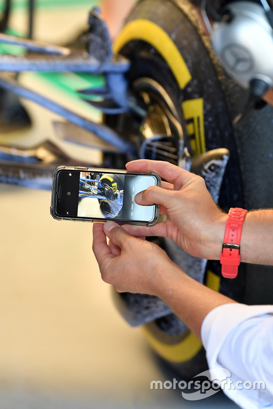 Mercedes-AMG F1 W09 front suspension detail with aero paint on a camera phone