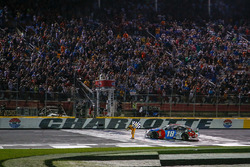 Kyle Busch, Joe Gibbs Racing, Toyota Camry M&M's Red White & Blue celebrates his victory