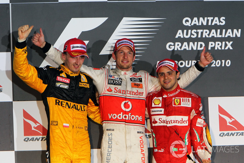 2010: 1. Jenson Button, 2. Robert Kubica, 3. Felipe Massa