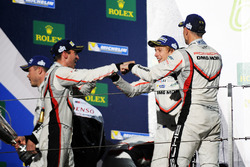 Podium: second place Timo Bernhard, Earl Bamber, Brendon Hartley, Porsche Team