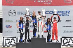 Podium: second place André Negrao, Schmidt Peterson Motorsports, race winner Santiago Urrutia, Schmidt Peterson Motorsports, third place Zach Veach, Belardi Auto Racing