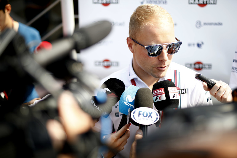 Valtteri Bottas, Williams Martini Racing, speaks to the media