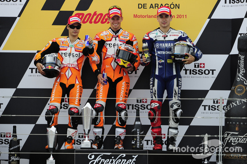 2011: 1. Casey Stoner, 2. Dani Pedrosa, 3. Jorge Lorenzo
