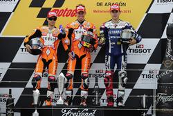 Podium: Race winner Casey Stoner, Respsol Honda; second place Dani Perdrosa, Repsol Honda; third place Jorge Lozenzo , Yamaha