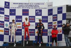Podium Rennen 2: 2. Job Van Uitert. Jenzer Motorsport; 1. Mick Schumacher, Prema Powerteam; 3. Dieg