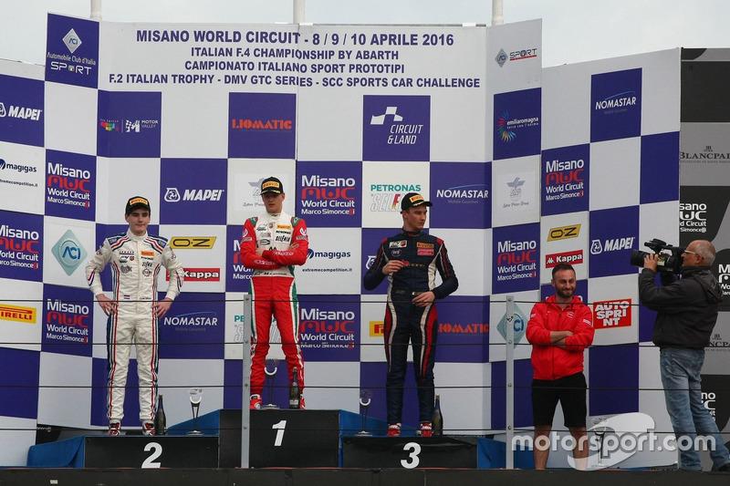 Podium : 2. Job Van Uitert. Jenzer Motorsport; 1. Mick Schumacher, Prema Powerteam; 3. Diego Bertonelli, RB Racing