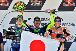 Podium: winner Valentino Rossi, Yamaha Factory Racing, second place Jorge Lorenzo, Yamaha Factory Racing, third place Marc Marquez, Repsol Honda Team