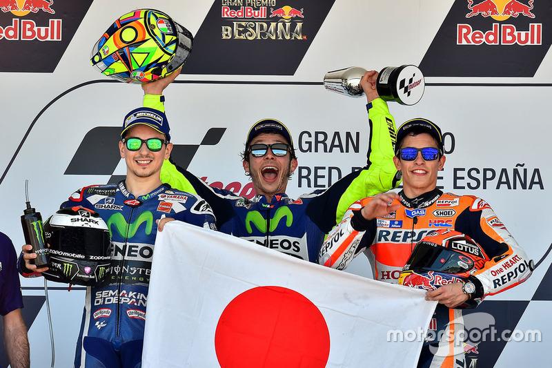 Podio: 1º Valentino Rossi, 2º Jorge Lorenzo, 3º Marc Márquez