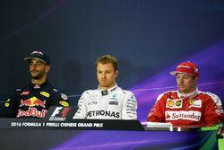 Press conference: Daniel Ricciardo, Red Bull Racing, Nico Rosberg, Mercedes AMG F1 Team and Kimi Rai