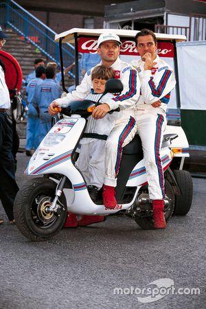 Nicola Larini, Alfa Romeo, mit Teamkollege Alessandro Nannini