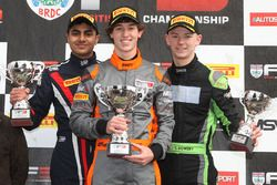 Podium: winner Matheus Leist, Double R Racing, second place Enaam Ahmed, Douglas Motorsport, third place Toby Sowery, Lanan Racing