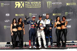 Podium: Race winner Mattias Ekström, EKS RX; second place Timmy Hansen, Team Peugeot Hansen; third place Johan Kristoffersson, Volkswagen Team Sweden
