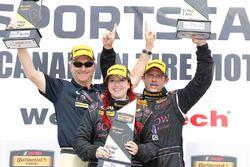 ST podium: winners #44 CRG-I Do Borrow Honda Civic Si: Sarah Cattaneo, Owen Trinkler