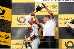 Podium: Race winner Edoardo Mortara Audi Sport Team Abt Sportsline, Audi RS 5 DTM with Hans-Jurgen A