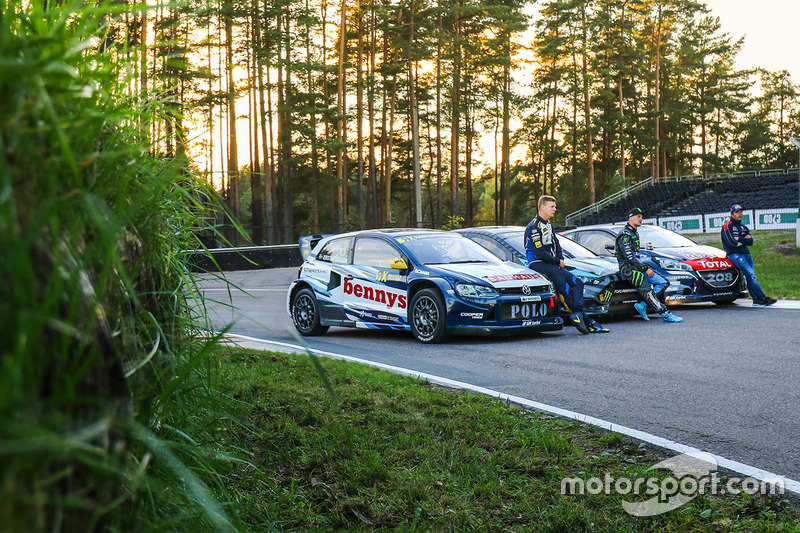 Johan Kristoffersson, Volkswagen Team Sweden, Andreas Bakkerud, Hoonigan Racing Division Ford, Sébas