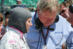 Pippa Mann, Dale Coyne Racing Honda talking with Dale Coyne