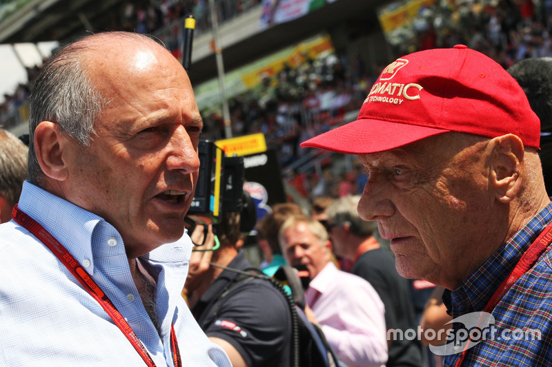 (L to R): Ron Dennis, McLaren Executive Chairman with Niki Lauda, Mercedes Non-Executive Chairman on