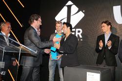 (L to R): Nico Hulkenberg, Sahara Force India F1; Sergio Perez, Sahara Force India F1; and Esteban G
