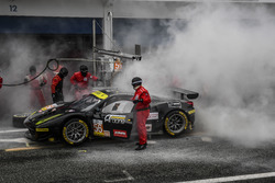Fire during Pit stop of #56 AT Racing Ferrari F458 Italia: Alexander Talkanitsa Sr., Alexander Talkanitsa Jr., Alessandro Pier Guidi