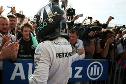 Second place Nico Rosberg, Mercedes AMG F1 celebrates in parc ferme