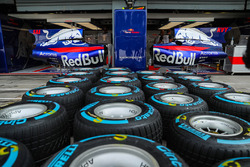 Scuderia Toro Rosso STR12 bodywork detail in the garage, Pirelli tyres
