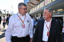 Ross Brawn, Formula One Managing Director de Motorsports y Chase Carey, Director Ejecutivo y Preside