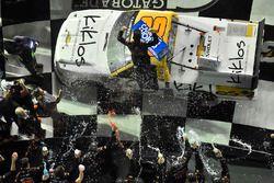 Kaz Grala, GMS Racing Chevrolet, celebrates his win in Victory Lane