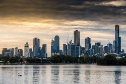 The view of the Melbourne city skyline from the Albert park Lake